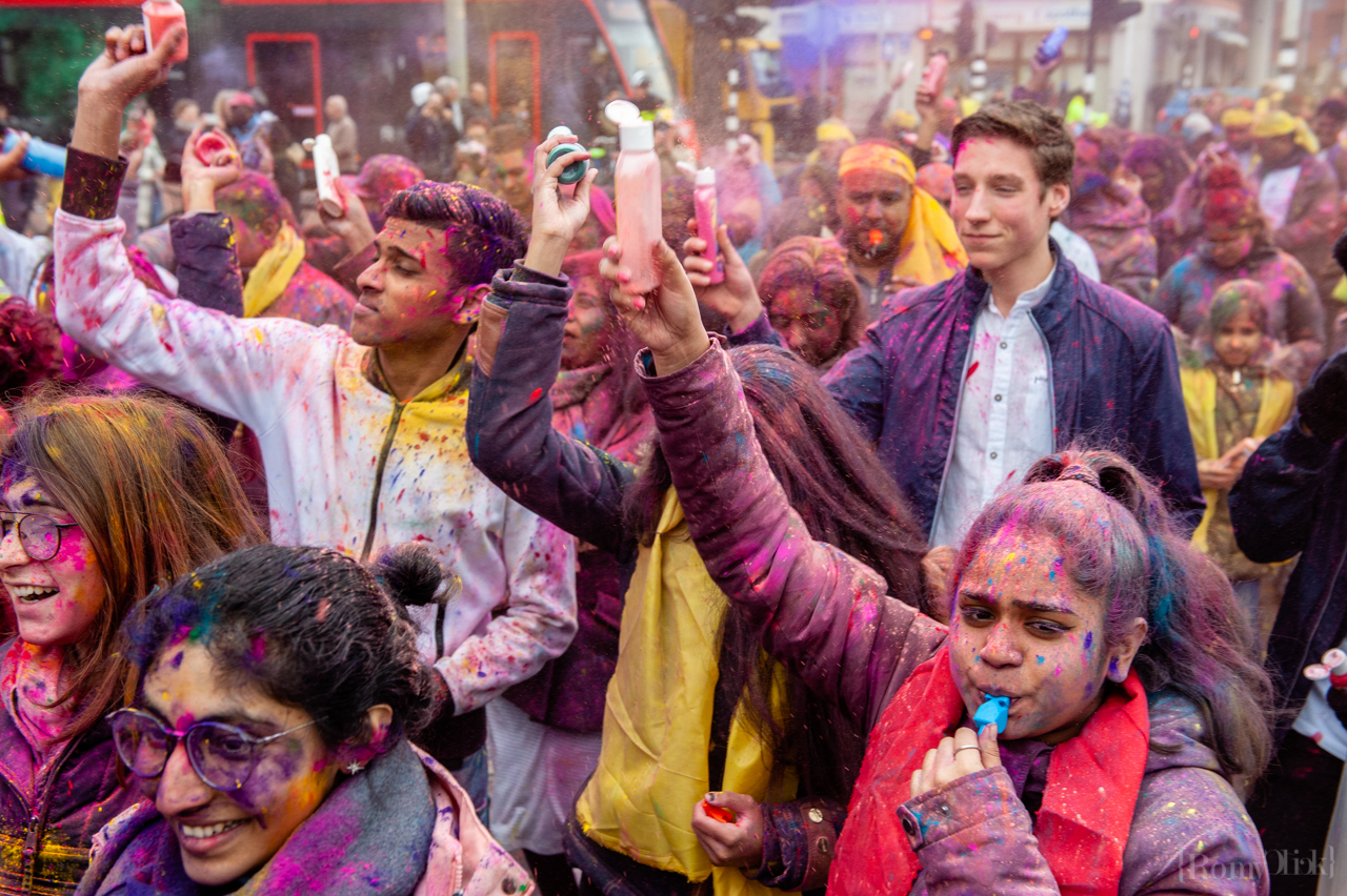 People are dancing covered with colored powders during the celebration of the Indian Holi Festival, in The Hague on March 21st, 2019. Millions of people around the world celebrate the annual Holi Hangámá Festival, also known as the Festival of Colours. For Hindus it's a celebration of the arrival of spring, the New Year and victory all in one. The largest Indian population in Europe (outside of the UK) can be found in The Hague, this is one of the largest in Europe. The highlight of the Holi celebrations is the procession through the multicultural Transvaal and Schilderswijk neighbourhoods. Participants in the procession throw brightly coloured powder on themselves and at each other to show that spring has begun. This year is also a very special celebration, they are also celebrating 145 years of the Hindustani immigration.(Photo by Romy Fernandez/Sipa USA)