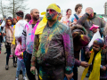 An indian man si waiting to the procession started covered with colored powders during the celebration of the Indian Holi Festival, in The Hague on March 21st, 2019. Millions of people around the world celebrate the annual Holi Hangámá Festival, also known as the Festival of Colours. For Hindus it's a celebration of the arrival of spring, the New Year and victory all in one. The largest Indian population in Europe (outside of the UK) can be found in The Hague, this is one of the largest in Europe. The highlight of the Holi celebrations is the procession through the multicultural Transvaal and Schilderswijk neighbourhoods. Participants in the procession throw brightly coloured powder on themselves and at each other to show that spring has begun. This year is also a very special celebration, they are also celebrating 145 years of the Hindustani immigration.(Photo by Romy Fernandez/Sipa USA)
